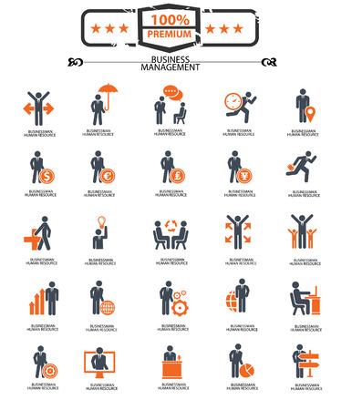 Set of Businessman icons,Orange version,vector