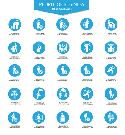 Set of Businessman icons,Blue version,vector Stock Vector - 23241040