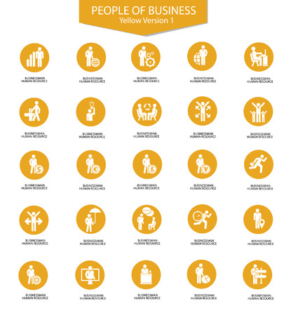 Set of Businessman icons,Yellow version,vector Vector
