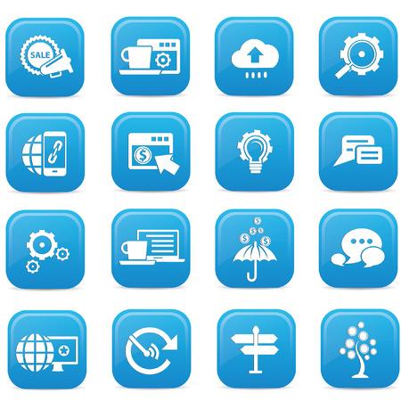 SEO buttons,Blue version,vector Vector