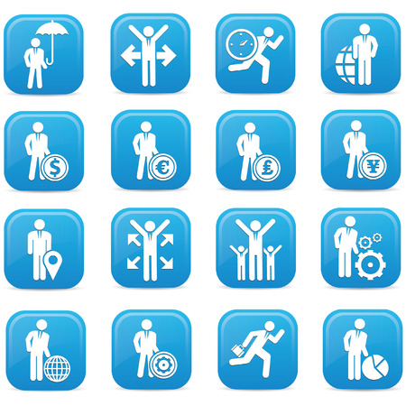 Human resource buttons,Blue version,vector Vector