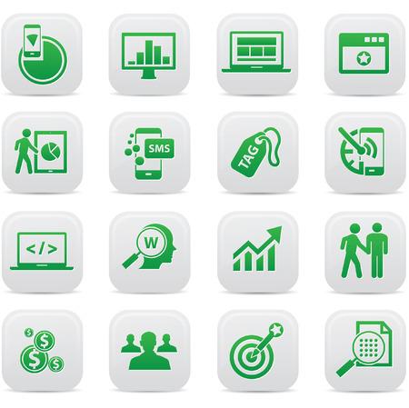 SEO Concept buttons,Green version,vector Illustration