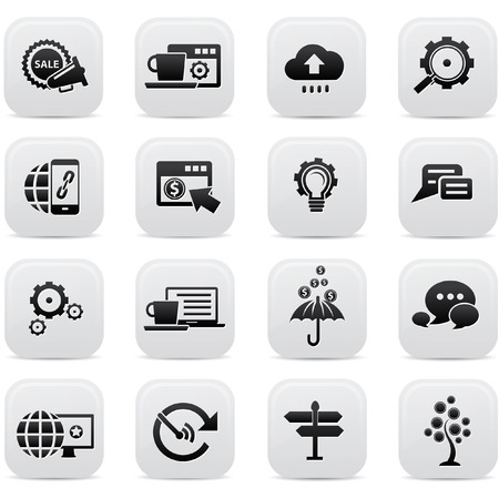 technology icon: Business Concept buttons,Black version,vector