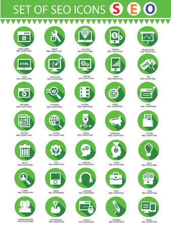 concepteur web: Moderne service de r�f�rencement, concepteur Web et de marketing en ligne d'ic�nes, la version verte