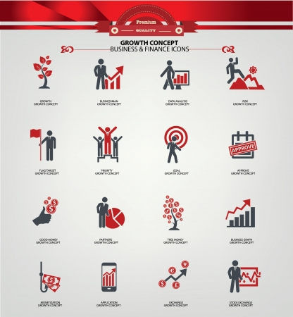 Growth concept icons,Red version Vector