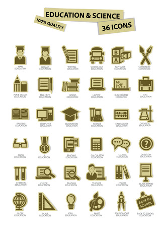 science icons: Education and science icons Illustration