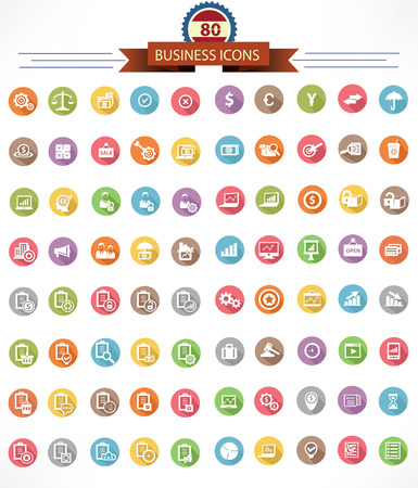 80 Business and Finance icons, Colorful version Vector