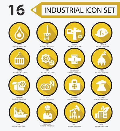 Industrial icon set,Yellow version 01 Vector
