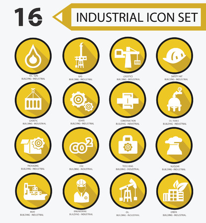 power grid: Industrial icon set,Yellow version 01
