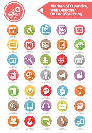 concepteur web: Moderne service de r�f�rencement, concepteur de site Web et de marketing en ligne d'ic�nes, version color�e