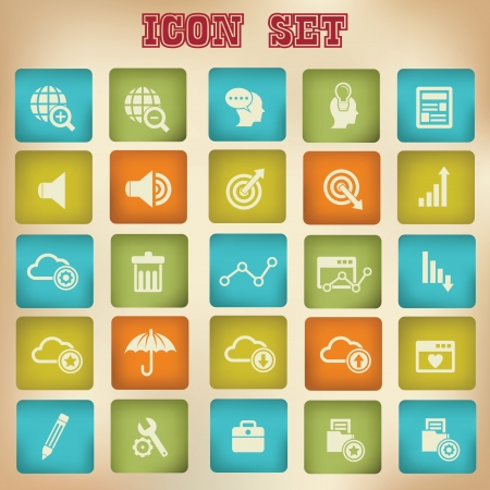 Website icons with Vintage version 2 Vector