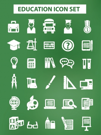Education and science icons with chalk version Vector