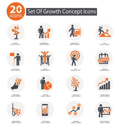 Groei begrip iconen, Orange versie Stock Illustratie