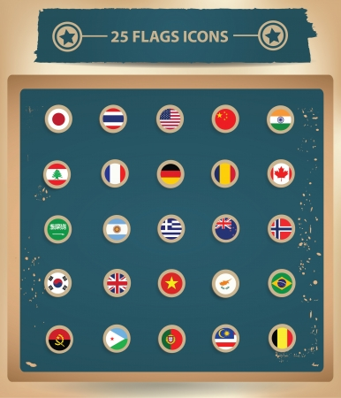 25 Flags National icons Vector