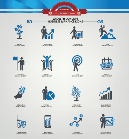 Growth concept icons,Blue version
