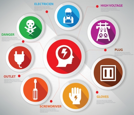 Electricity concept,Infographic s, icons set,Colorful version Vector