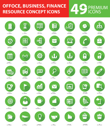 Office and Business Icons,Green buttons version Vector