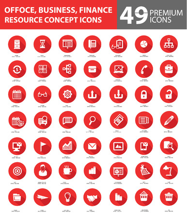 Office and Business Icons,Red buttons version Vector