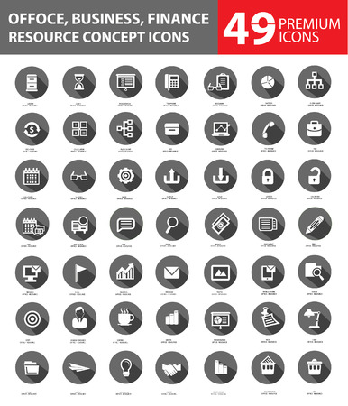 icon set: Office and Business Icons,Gray buttons version