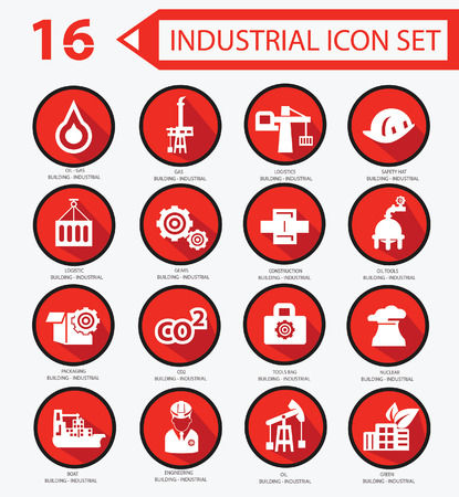 Industrial icon set,Red version Stock Vector - 23374367