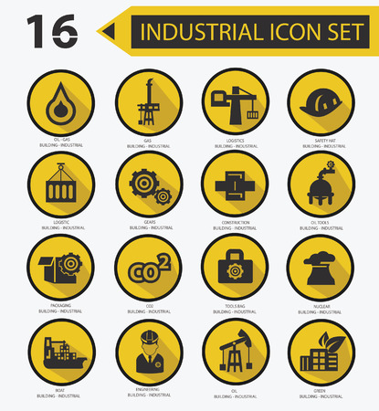 Industrial icon set,Yellow version 02 Stock Vector - 23374368