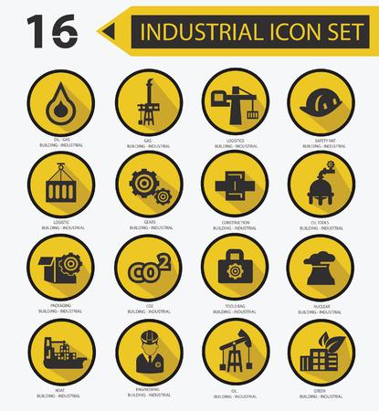 Industrial icon set,Yellow version 02 Stock Vector - 23374368