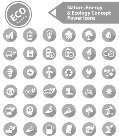 Nature and Ecology icon set,On white background,Gray version,vector Vector
