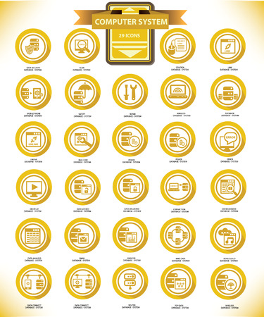 Computer system buttons on Yellow version Vector