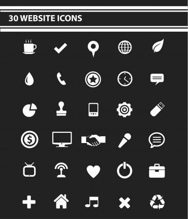 30 Website Icons set,White version,vector Vector