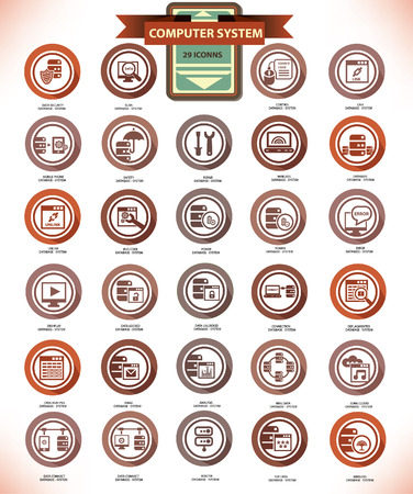 Computer system   Database center,Vintage icon set,vector Stock Vector - 23656937