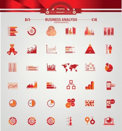 risico analyse: Business Analysis-concept, 36 iconen, voor infographics ontwerp, rode versie, vector