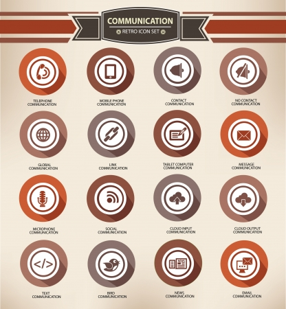 Communication,retro buttons style Vector