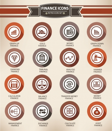 Retro economics icons Vector