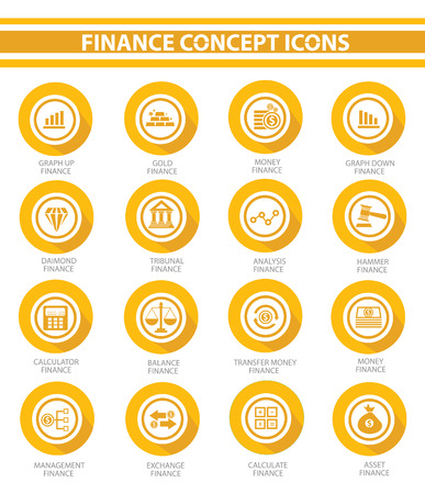 Finance concept buttons,Yellow version Vector