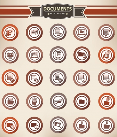 Documents and Folder buttons,Red version Vector