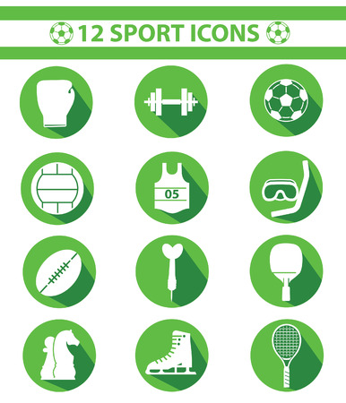 Sports icons,Green version Vector