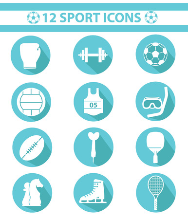 Sports icons,Blue version Vector