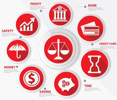 Wirtschaft, Recht und Finanzen Konzept, Abstrakt, Rot-Version