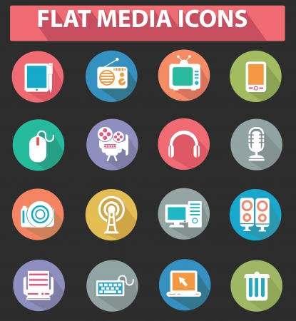 Flat media icons,colorful version Stock Vector - 23872270