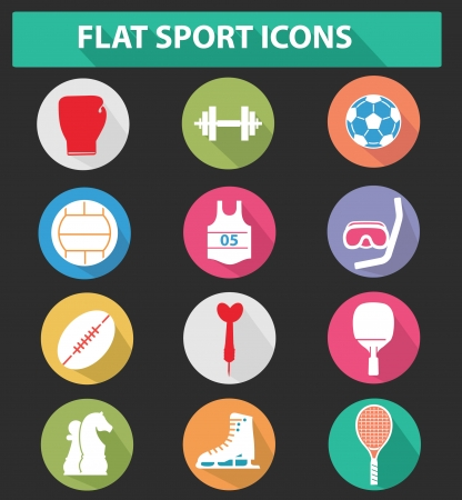 Flat sport icons,colorful version Vector