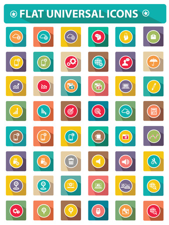 Flat Website universal icons Stock Vector - 23872659