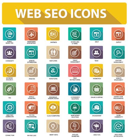 Flat Website seo icons,colorful version Vector