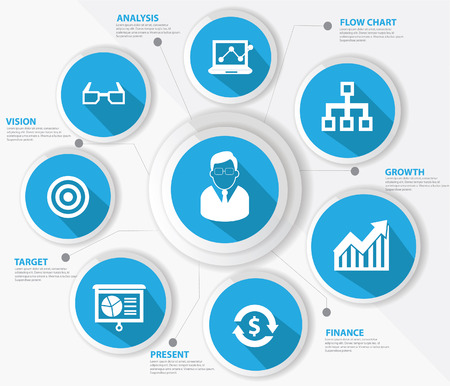 management concept: Concepto de gesti�n de negocios, la versi�n azul