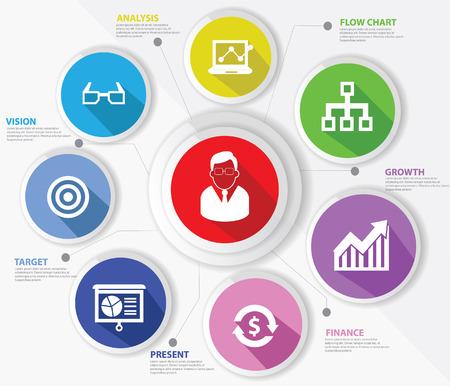 management concept: Concepto de gesti�n de negocios, Versi�n colorida Vectores