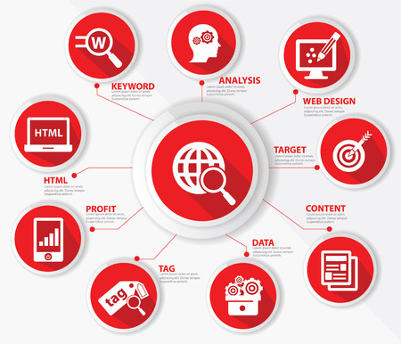 SEO concept,Internet technology,Red version Illustration