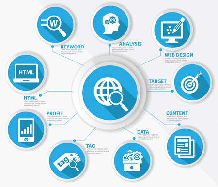 SEO concept,Internet technology,Blue version