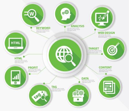 network marketing: Concepto de SEO, la tecnolog�a de Internet, versi�n verde Vectores