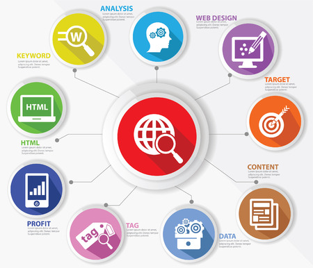 SEO 개념, 인터넷 기술, 다채로운 버전 스톡 콘텐츠 - 23873294