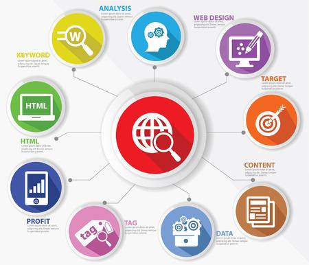 SEO-concept, internet-technologie, kleurrijke versie