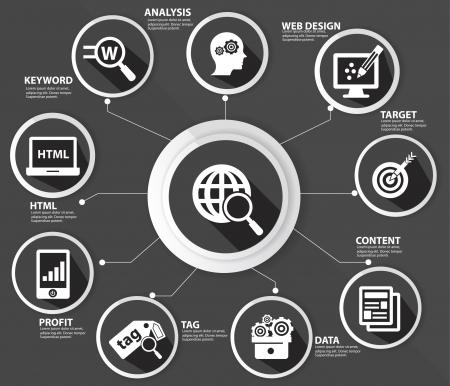 SEO concept,Internet technology,Black version 矢量图像